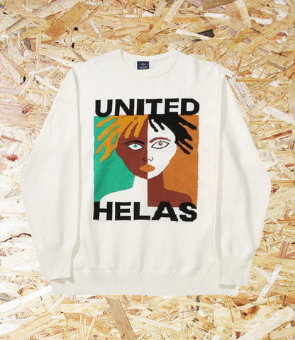 Helas, United, Knit Sweater, White, cotton, front knitted united logo, bottom tag, Brighton, Skate Shop, Level Skateboards, Independent