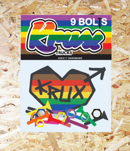 Krux Krome Bolts Phillips Hardware - Rainbow.  1 inch Phillips - set of 9, Level Skateboards, Brighton, Local Skate Shop, Independent