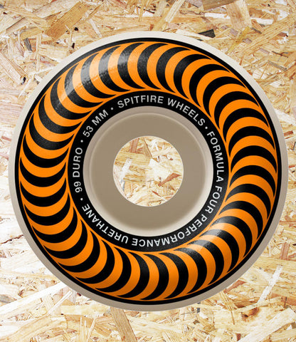 Spitfire Formula Four Wheels Classics 99DU Orange - 53 MM  Spitfire is the World's #1 urethane for a reason... Performance. Only the most advanced formulas and compounds are used for all wheels. Spitfire achieve the highest levels in tolerance and true speed.  Often imitated and never duplicated.  Spitfire wheels are the standard by which all skateboard wheels are measured.  RIDE THE FIRE, Level Skateboards, Inependent, Local Skate Shop