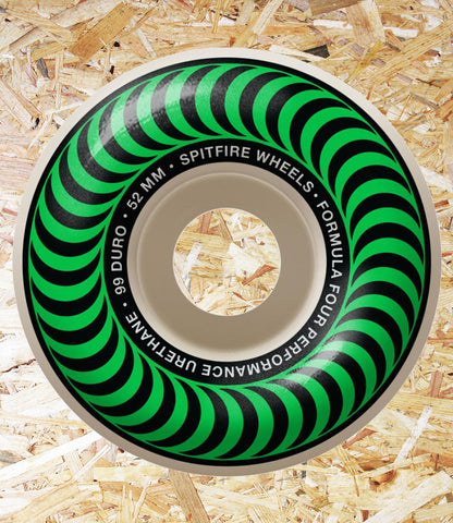 Spitfire Formula Four Wheels Classics 99DU Green - 52 MM  Spitfire is the World's #1 urethane for a reason... Performance. Only the most advanced formulas and compounds are used for all wheels. We achieve the highest levels in tolerance and true speed.  Often imitated and never duplicated.  Spitfire wheels are the standard by which all skateboard wheels are measured.  RIDE THE FIRE, Level Skateboards, Skate Shop, Independent, Local