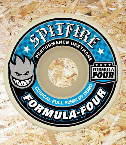 Spitfire Formula Four Wheels Conical Full 99DU Natural - 53 MM  Wider riding surface and cutaway design for unmatched control and lasting speed everywhere.  Formula Four Performance Urethane *Formulated for a harder-faster ride* *Unmatched flatspot resistance* *Smooth anti-stick slide* *More speed and control* *100% True performane urethane*  YOU WILL BURN FOUR-EVER, Level Skateboards, Local Skate Shop, Brighton, Independent