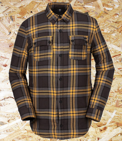 Volcom, Sherpa, Flannel Jacket, Yellow/Black, Standard Fit, Snap Opening, Chest Pockets, Side Seam Hand Pockets, Cuff Snaps, Volcom Plack, Brighton, Skate Shop, Level Skateboards, Independent