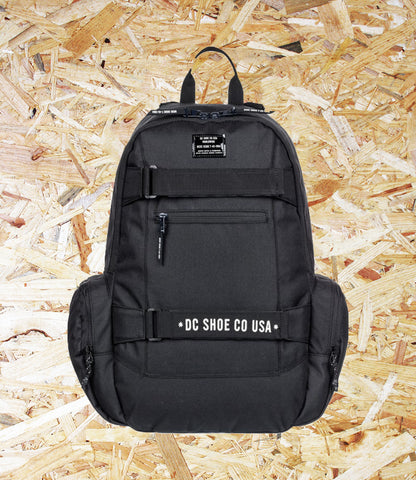 DC Shoes, Breed, 26L Backpack, Black, 1 large compartment, Two side zip pockets, External pocket, External skate straps, Padded airmesh back panel, Embroidered logo on front, Internal organiser on front flap, Adjustable padded straps, Brighton, Skate Shop, Level Skateboards, Independent
