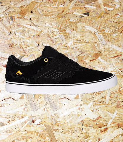 Emerica, The Low Vulc, Black, Gold, Brighton, Skate Shop, Level Skateboards, Independent