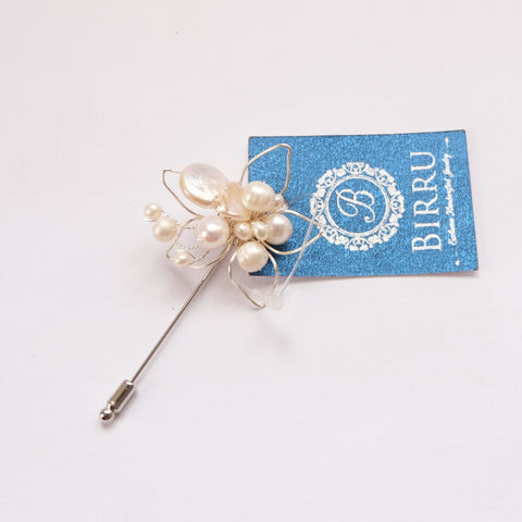 Brooch Pin - White Pearls