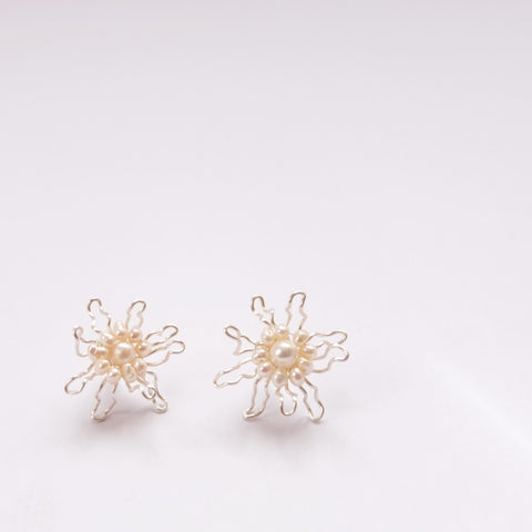 Pearl Silver Bloom Flowers - earring