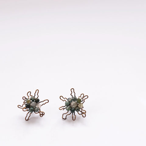 Green Bloom Flowers - earring