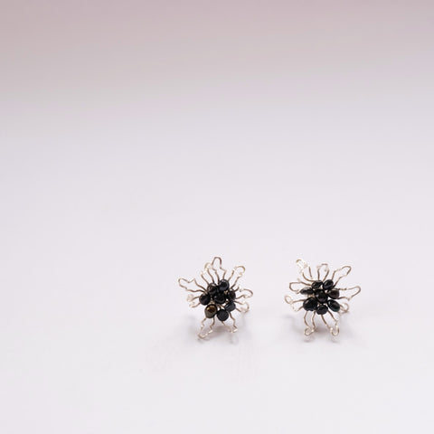 Black Pearl Bloom Flowers - earring