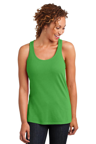 District Made¬ Ladies Solid Gathered Racerback Tank. DM420