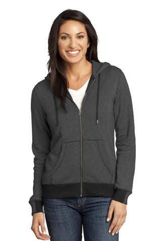 District Made¬ - Ladies Mini Stripe Full-Zip Hoodie DM490