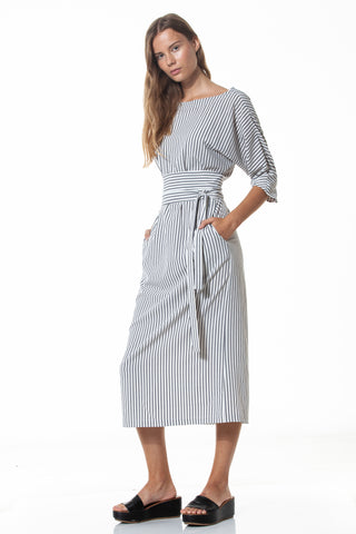Striped kimono-type midi dress