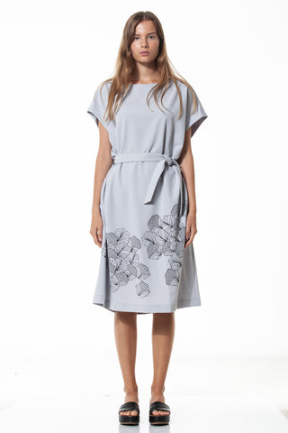 Silk-screen printed oversize dress