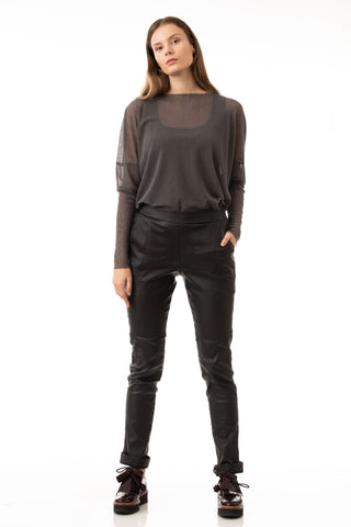 Eco-leather pants in black