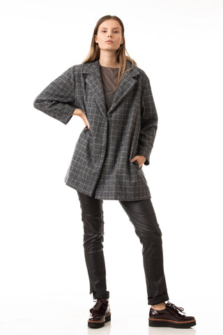 Checked oversized coat