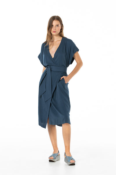 Blue dream kimono wrap dress