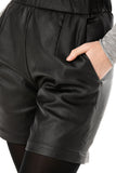 Black leather-look shorts