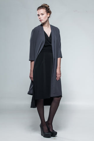 Grey silky coat-dress