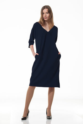Kimono dress in navy blue
