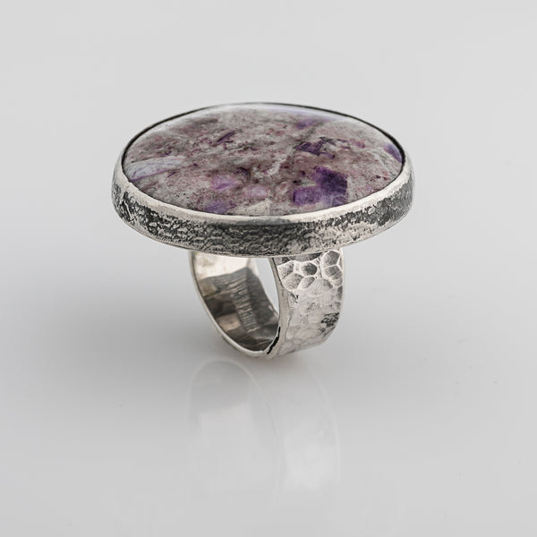 "Silver ring ""Misty lilac"""