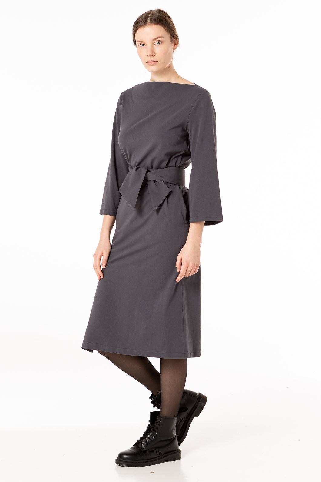 Deep grey dress to impress