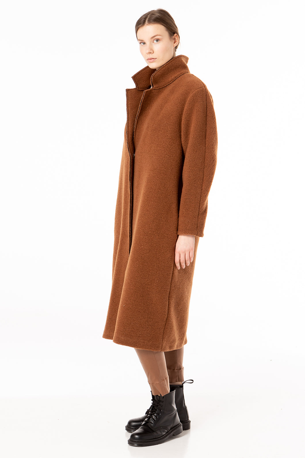 Winter coat in colour of terra cotta