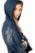 Load image into Gallery viewer, Hooded unisex dressing gown of a dark night sky