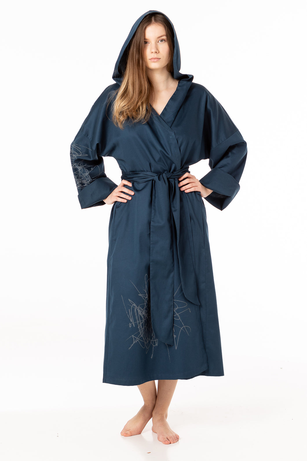 Hooded unisex dressing gown of a dark night sky