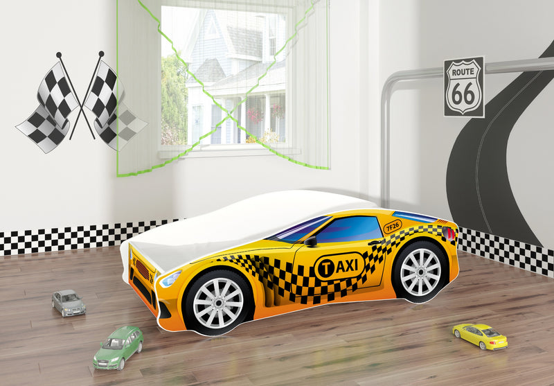 ACMA V car bed (taxi yellow+black) in a room