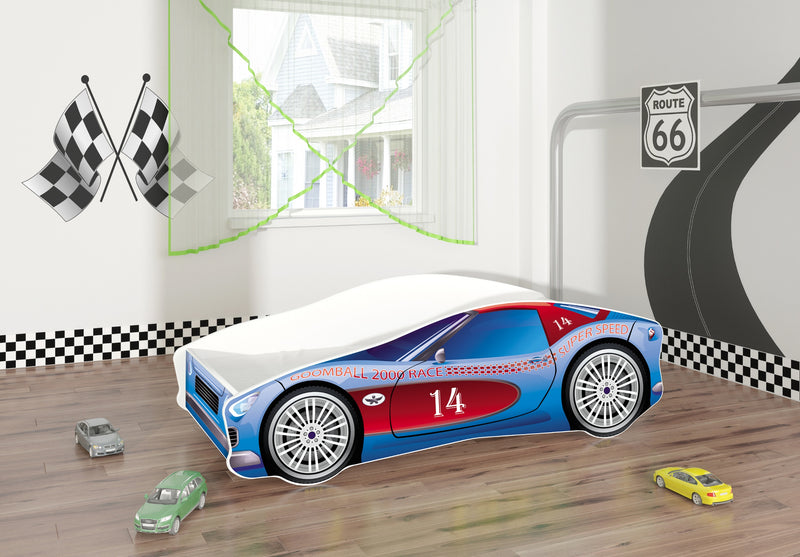 ACMA V car bed (race blue+red) in a room