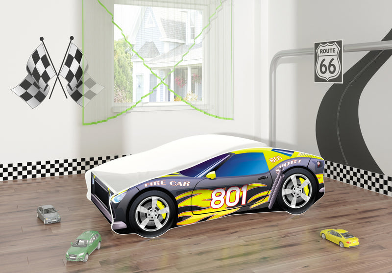 ACMA V car bed (fire grey+yellow) in a room