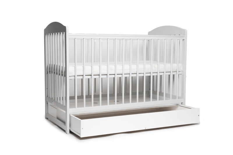 Tomi 7 baby cot with mattress and drawer open