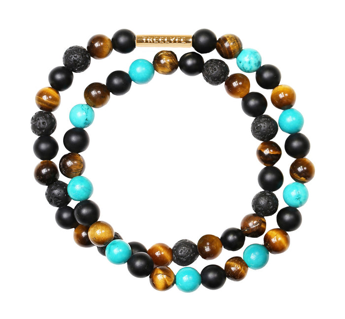 Winner's Will - Turquoise, Black, Brown Tiger Eye and Lava