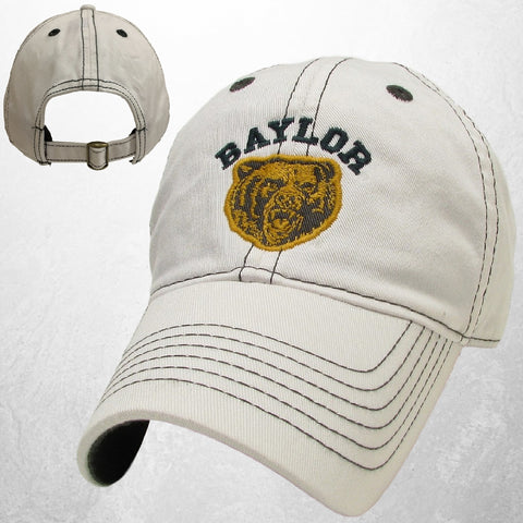 The Baylor Growling Bear Contrast Hat - White