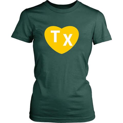 TX Heart Design Women's Tee - Green - Bailes Brothers Clothiers  - 3