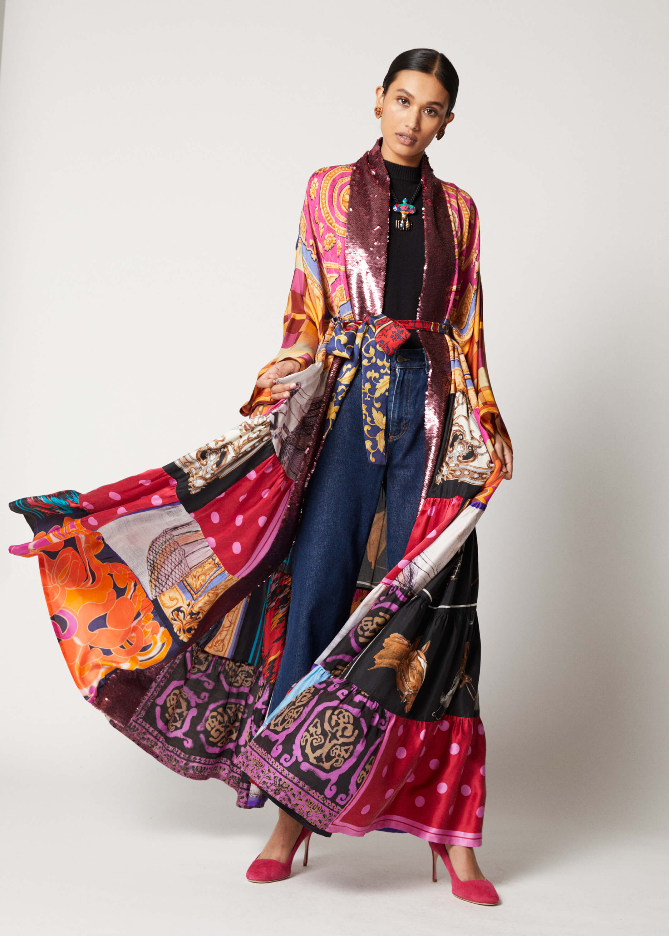 One-of-a-kind Volant Kimono with Sequin Facing