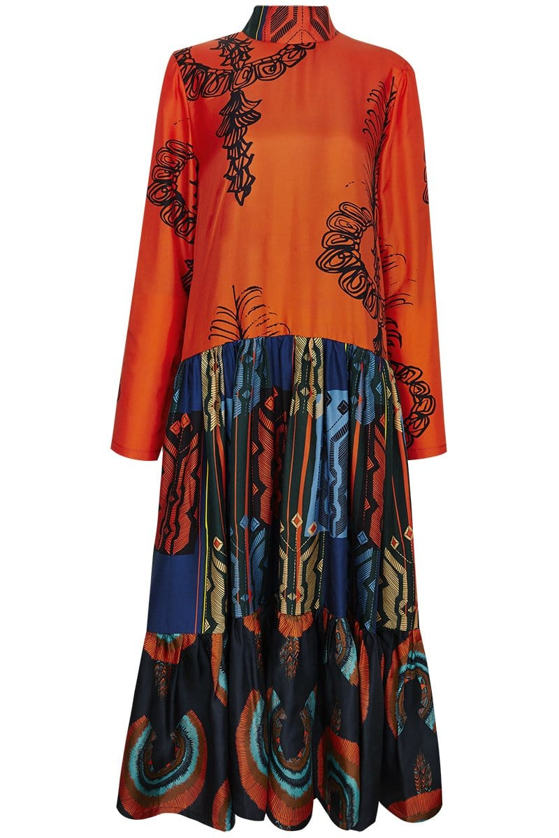 RIANNA + NINA Dresses Philia Blue, Fedora grey + Siam Orange / S/M Carnaval Dress Mimi