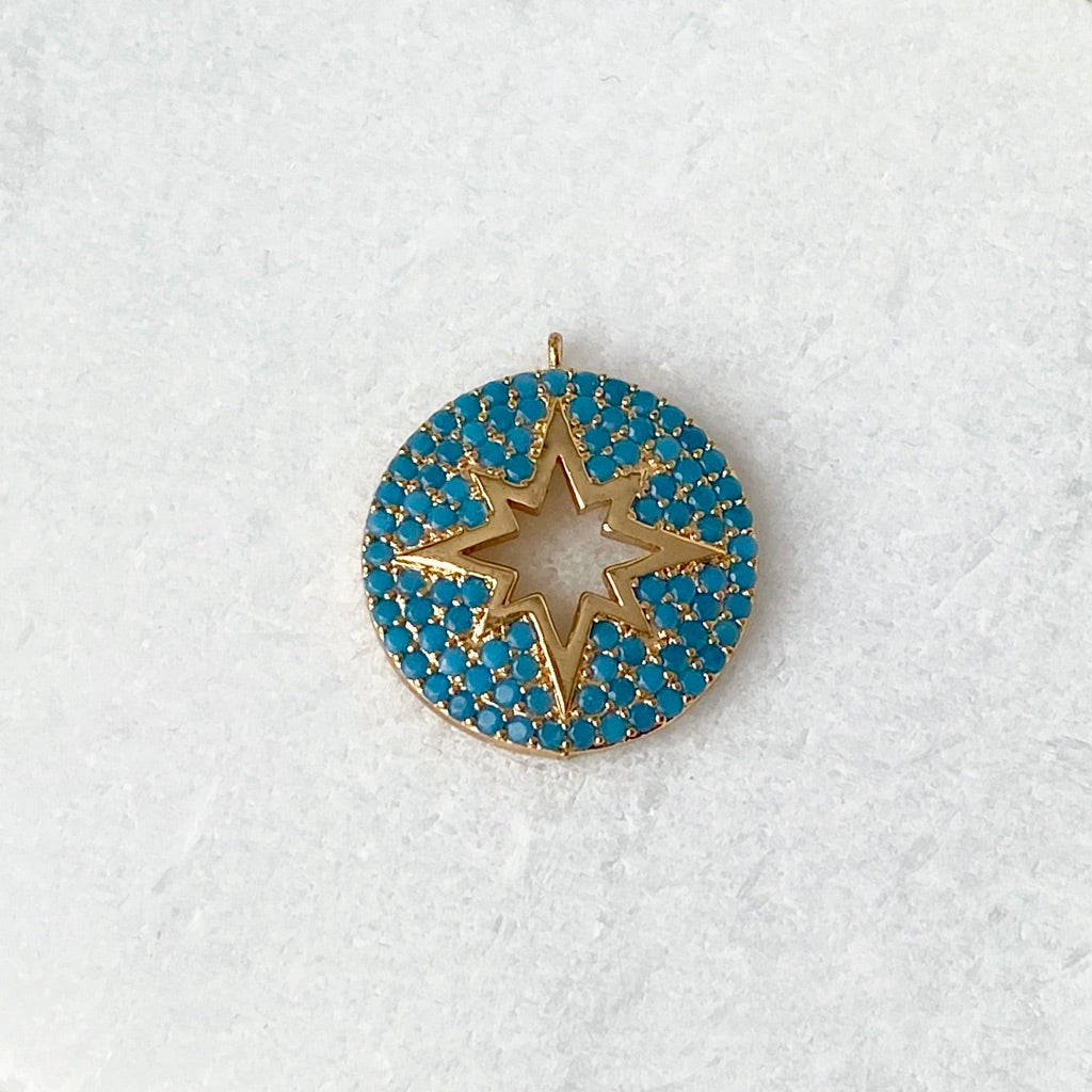 Starburst Charm with Turquoise Micro Pavé Crystal