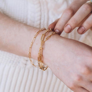 Dainty Gold Chain Link Bracelet 6x3mm - 7""