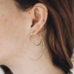 Thin Gold Hammered Hoops 29-65 mm