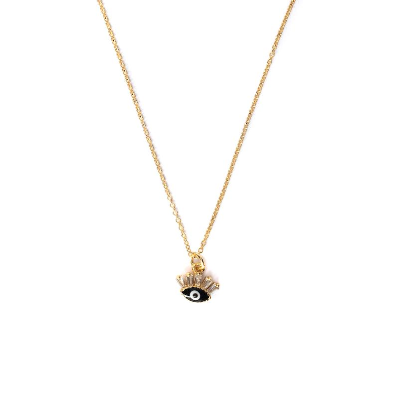 Flirty Evil Eye Gold Pendant Necklace