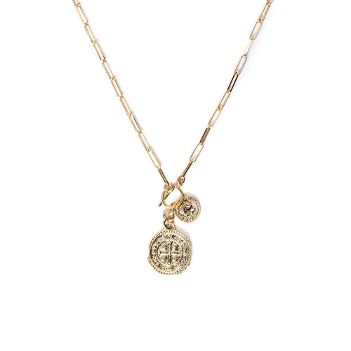 Double Coin Toggle Gold Drop Necklace