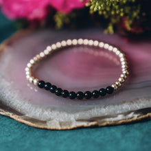 Black Onyx Gold Beaded Gemstone Bracelet