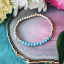 Magnesite Blue Gold Beaded Gemstone Bracelet