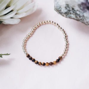 Tigers Eye Gold Beaded Gemstone Bracelet