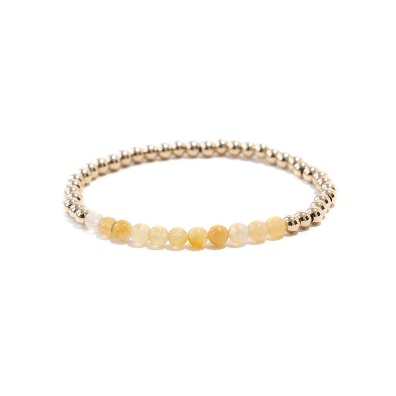 Golden Jade Gold Beaded Gemstone Bracelet