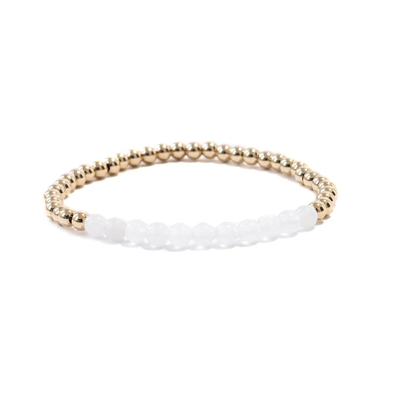 Snow Quartz Gold Beaded Gemstone Bracelet
