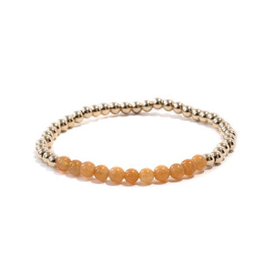Red Aventurine Gold Beaded Gemstone Bracelet