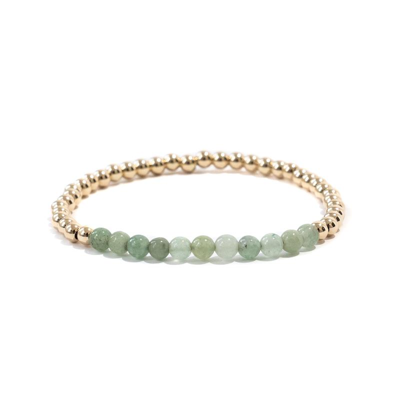 Green Aventurine Gold Beaded Gemstone Bracelets - 4 mm
