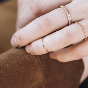 Midi Gold Hammered Ring