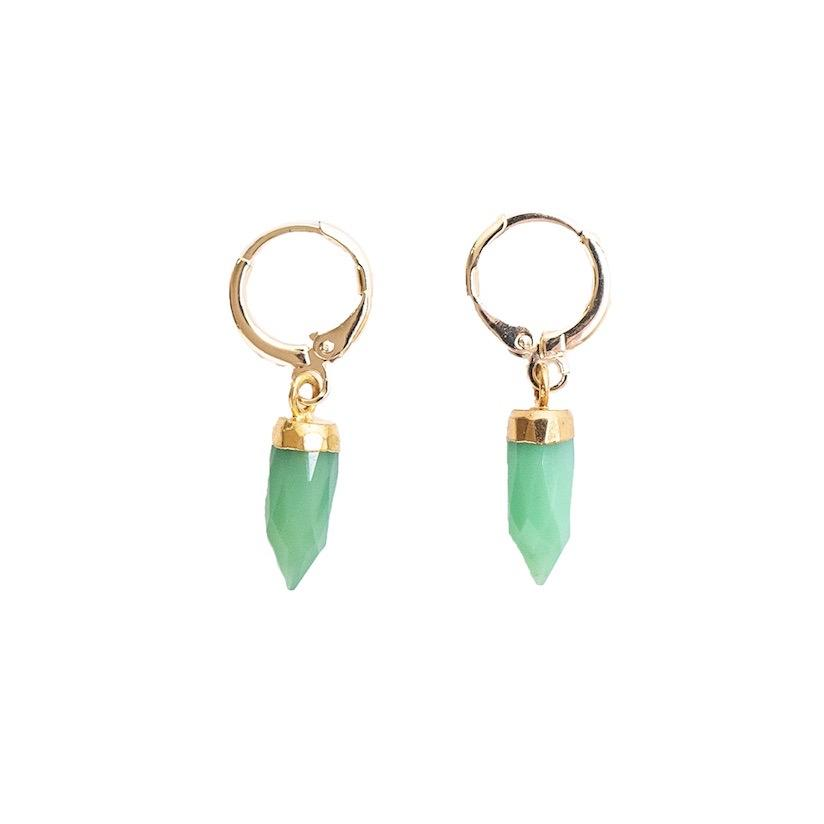 Gold Chrysoprase Gemstone Huggie Earrings